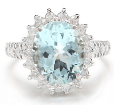 5.40 Carats Natural Aquamarine and Diamond 14K Solid White Gold Ring