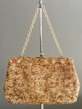 VINTAGE Retro Gold FAIGEN Floral Tapestry Frame Evening Bag/Purse w Short Chain