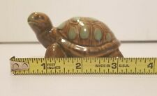 Vintage Glass Turtle Figurine Paperweight Collectable Animal Brown Green