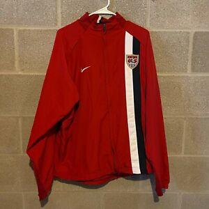 Nike TEAM Dri Fit 2000s 2006 USA Soccer Vented Red Windbreaker Jacket XL