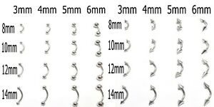 Eyebrow Belly Curved Barbell Self Build Tragus Rook Helix Steel Piercing Bar 14g