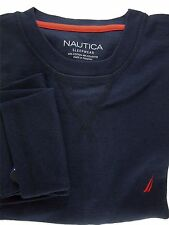 Nautica Men's Cotton/Poly Black Iris Long Sleeve Crew Nightshirt Navy Blue Sz. S