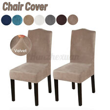 2X Velvet Stretch Chair Cover For Dining Chairs Protective Super Soft Slipcovers