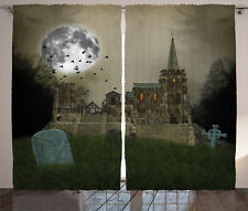 Gothic Curtains Old Village and Grave Window Drapes 2 Panel Set 108x108 Inches