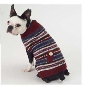 Petrageous Fair Isle Dog Pet Sweater Coat Knit Cranberry Blue White Msc Sizes