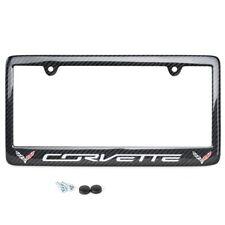 C7 Corvette REAL Carbon Fiber License Plate Frame w/ Corvette Script, Dbl Logos