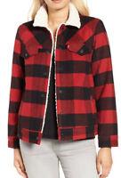 Levis Boyfriend Cherry Plaid Sherpa Jacket Womens #282090000 Levi's Wool Blend