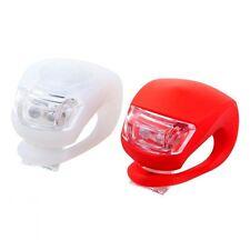 Kit 2 Lampe LED Silicone Feux Eclairage Avant Arrière pour Vélo VTT Rouge/Blanc