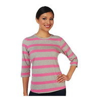 Denim & Co. Perfect Jersey 3/4 Sleeve Heather Stripe Top - Azalea Pink - Large