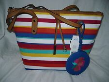 Rosetti Annemarie Tote Bag With Coin Pouch Stripes Red Blue Green Yellow NEW
