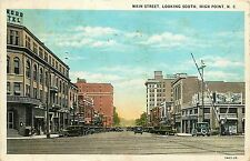 North Carolina, NC, High Point, Main Street Looking South 1930 Postcard