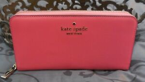 Kate Spade ~STACI Saffiano Leather Continental Zip Around Wallet~PINK~NWT $229