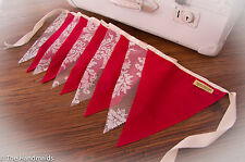 2m Handmade Bunting Flags Red & Lace - Party Wedding Baby Bedroom Decor