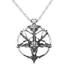 Fashion Retro Pentagram Pan God Skull Goat Head Pendant Necklace Luck Jewelry zy