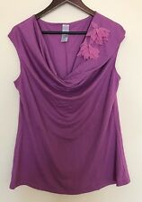 CURVES Women Large Roll Neck Lavender Sleeveless Top Shirt Blouse NEW