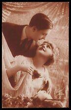 Art Deco 1920s original vintage photo postcard romance lady man party couple