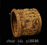 Chinese unearthed old pure copper enamel gold inlaid gemstone bracelet