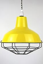 Industrial enamel lamp shade cage guard wire pendant cloth cord on off light