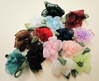 100 pcs Organza Satin Trim Flower Applique Arts Crafts 1273T