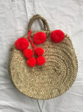 Woven Straw Beach Tote Bag With Pom Poms