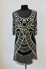 Temperley London Mini Selena Black & Gold Embellished Dress, Size 12, RRP £795