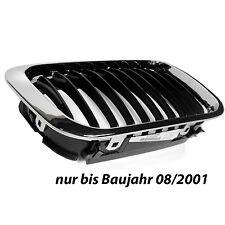 BMW 3 3er E46 98- Grill Niere Kühlergrill Rahmen Chrom Lamellen Schwarz Rechts