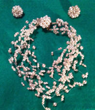 LISA MARINUCCI EXQUISITE FAUX PEARL FLOATING CHOKER NECKLACE SIGNED & EARRINGS