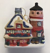 Fire Station Dept Light House Ornament Bell Badcock 2002 Christmas Village