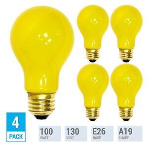 Pack YELLOW BUG LIGHT BULB 100W Watt A19 Medium E26 130V Incandescent 100A/YB