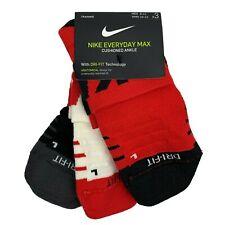 Nike Cushioned Ankle Socks 3 Pair Dri-FIT Men's 9-12 SX7940 Red White Black