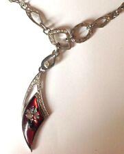 Beau collier bijou vintage couleur argent corne nacre cristal style art déco 223
