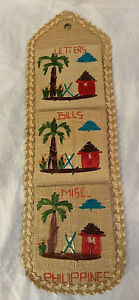 Vintage Phillipines Straw Woven Letter Rack