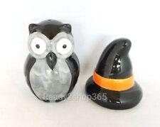 Owl Halloween Witch Salt and Pepper Shaker Set Owls Shakers Decor Black