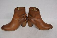 NIB Frye Janis Shield Pull-On Booties Cognac Brown Leather US Women's Size 9M