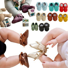 Boy Girl Baby Genuine Leather Tassel Shoe Moccasins Soft Sole Prewalk Crib 0-24M