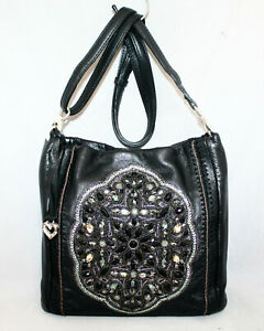BRIGHTON Anjulina Black Leather Bucket Crossbody Jewel & Bead Embellished