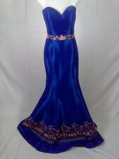 2 Cute Prom Womens Dress Gown Sz 4 Royal Blue/ Floral Fit/ Flare Strapless C/315
