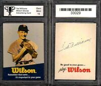Ted Williams Boston Red Sox Wilson Gloves Advertisement Promo Card Graded 10