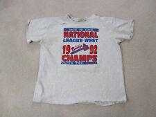VINTAGE Atlanta Braves Shirt Adult Large Gray Red Baseball 1992 World Series *