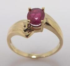 10K YELLOW GOLD GENUINE OVAL RUBY SOLITAIRE LADIES RING SIZE 7 - 2.6gr