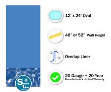 12' x 24' Oval Overlap Swirl Bottom Above Ground Swimming Pool Liner - 20 Gauge