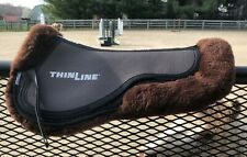 Thinline Trifecta Full Sheepskin Comfort Half Pad Small Dark Brown Shimmable