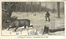 CANADA CHASSE AU CARIBOU HUNTING GRAVURE ENGRAVING 1878