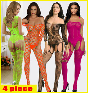 4pc Sexy Underwear Babydoll Lingerie costumes intimates Bodystockings Chemise