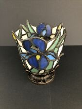PartyLite Iris Flower Tiffany Style Stained Glass Tealight Votive Candle Holder