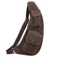 Men's Boy's Real Leather Backpack Packs Shoulder Sling Chest Bags Case