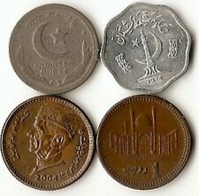 Four coins from Pakistan, 2 paisa, quarter rupee, 1 rupee, 1948- 2004