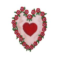 ID 3234 Heart With Roses Patch Valentines Day Flower Embroidered IronOn Applique