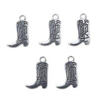 10PCS Tibetan Silver Beads Cowboy Boot Shoes Charm Pendant 27*14mm DIY Jewelry