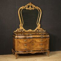 Dresser with mirror chest of drawers commode furniture in wood antique style